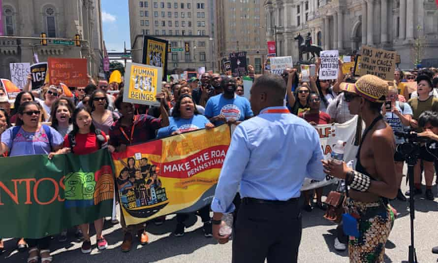 Activists protest immigration policy in Philadelphia on Friday.
