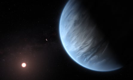 Artist's impression of the planet K2-18b, its host star and an accompanying planet in this system.