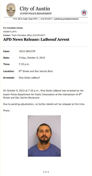 film press release template - shia labeouf charged with being drunk in public film