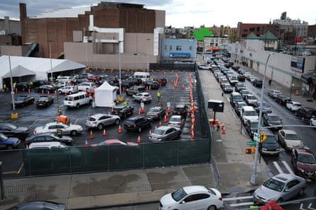 A large number of cars line-up at a recently opened coronavirus testing site on April 21, 2020 in the Brooklyn borough of New York City. New York City, which was hit especially hard by COVID-19, is just now beginning to see a slight drop in cases.
