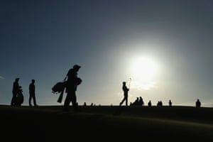 St Andrews, Scotland. The Canadian-American golfer Austin Connelly plays his second shot on the first hole during the 2017 Alfred Dunhill Links Championship at Carnoustie