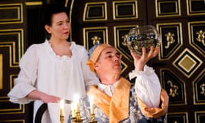 Rylance, as King Philip, with Melody Grove, as Isabella, Queen of Spain, in Farinelli and the King.