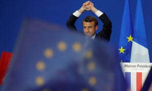 Emmanuel Macron and EU flag