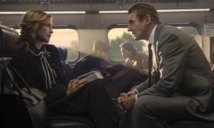 Vera Farmiga and Liam Neeson in The Commuter.