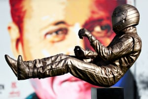 A statue of the late Formula One driver Ayrton Senna by the artist Paul Oz