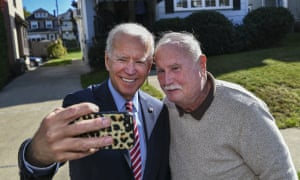 Joe Biden takes a selfie with Paul McGloin while visiting his childhood home in Scranton in October.