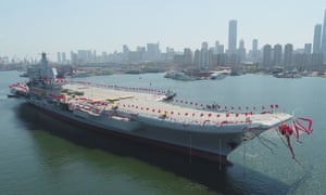 China's first domestically built aircraft carrier during launch festivities in Dalian, Liaoning province.