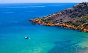 View of Ramla Bay, Gozo, Malta.