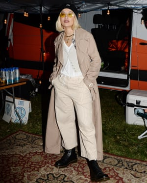 Rita Ora sports DMs at the One Love Malibu festival at King Gillette Ranch, Los Angeles, in 2018