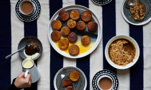 Sticky toffee pudding; apple date and orange crumble; boiled clementine cakes