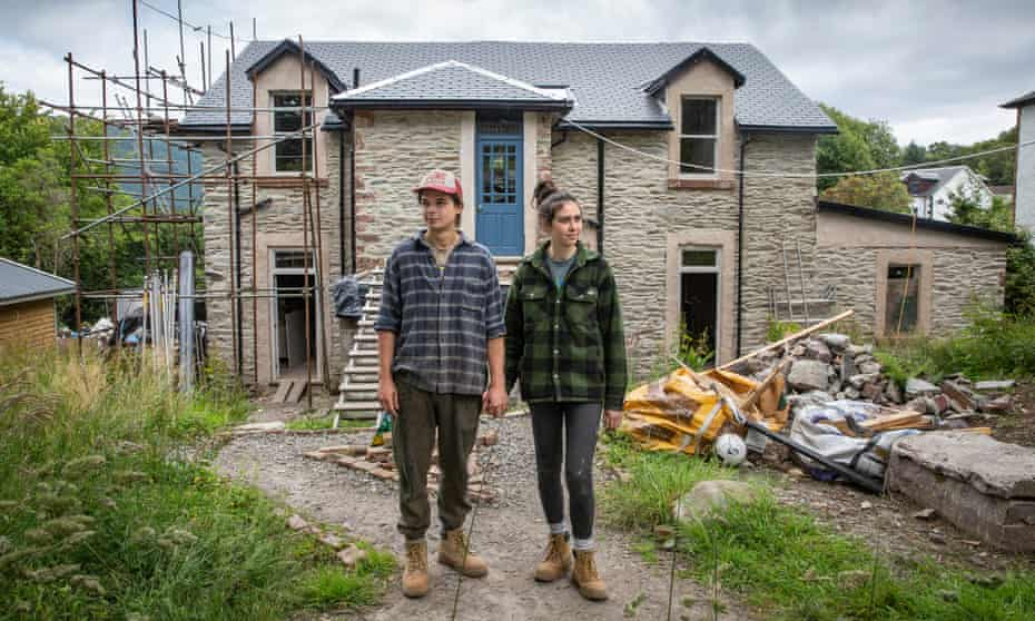Cal Hunter and Claire outside their house in Dunoon