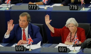 Nigel Farage and Ann Widdecombe voting in the European parliament in September where they both sit as MEPs.