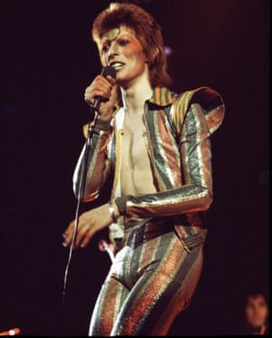 Starman … David Bowie performs on stage on his Ziggy Stardust/Aladdin Sane tour in London, 1973.