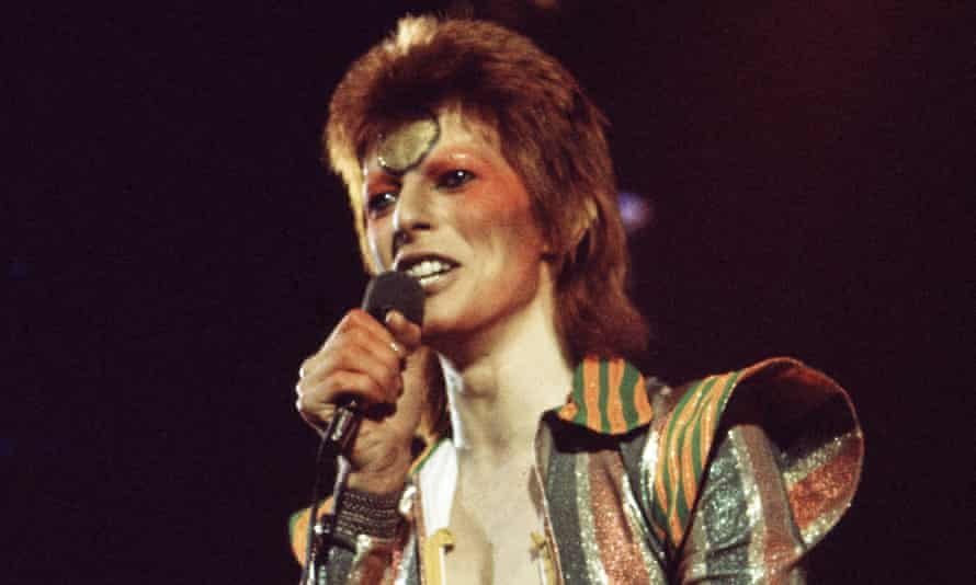 David Bowie performing as Ziggy Stardust in 1973.