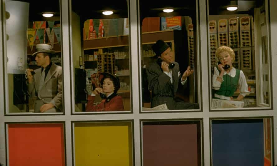 (from left) Marlon Brando as Sky Masterson, Jean Simmons as Sarah Brown, Frank Sinatra as Nathan Detroit and Vivian Blaine as Miss Adelaide in the 1955 film of Guys and Dolls.