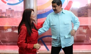 President Maduro spins the 'First Combatant', his wife Cilia Flores.