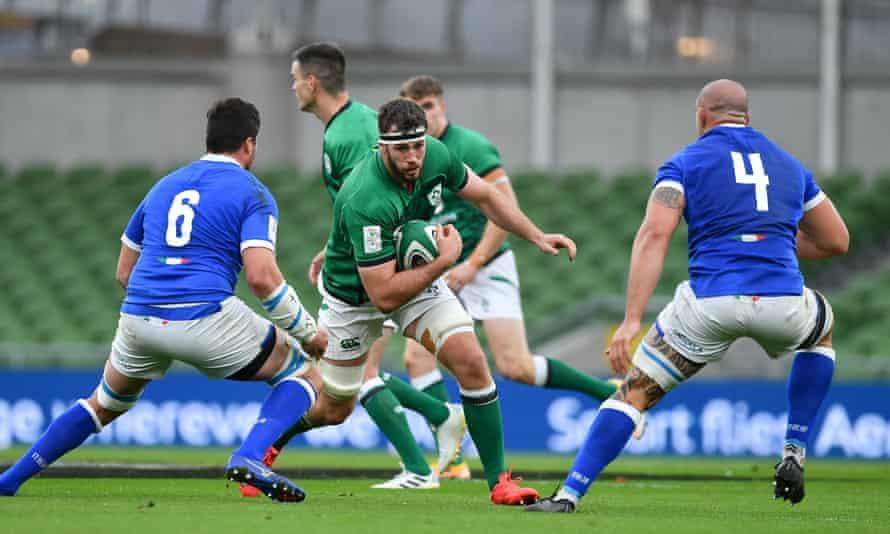 Caelan Doris dodges the challenges in Ireland's 50-17 win over Italy.