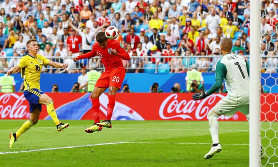 Dele Alli scores England's second goal in their World Cup quarter-final victory against Sweden at the Samara Arena.
