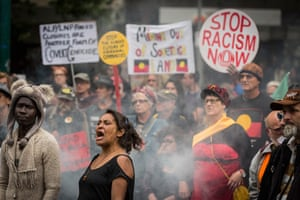 A large crowd show their support at a rally on 27 November protesting at the forced closures of Indigenous communities in Western Australia. It was November 2014 when the Western Australian premier, Colin Barnett, announced that the government would stop providing services to up to 150 remote Aboriginal communities – a move that would force many to close as resources were redirected towards bigger towns.