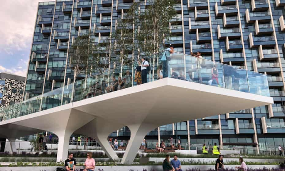 Why would anyone build a walkway over a pedestrianised zone? … The Tide at Greenwich Peninsula.