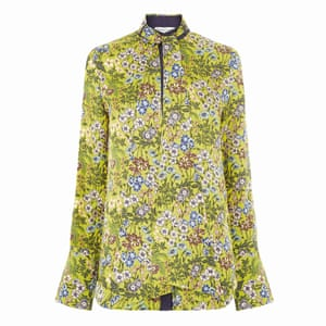 yellow, green, blue, brown floral high necked blouse, Warehouse