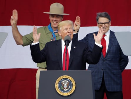 Trump at the 2017 National Boy Scout Jamboree.