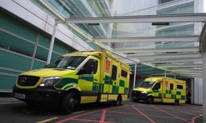 Ambulances at UCL hospital in London
