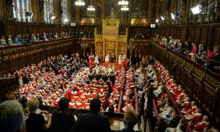 Queen Elizabeth II and the Duke of Edinburgh in the House of Lords in 2015