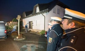 Police outside the home of the parents of Andreas Lubitz in Montabaur, Germany.