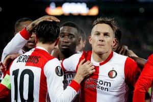 Feyenoord goalscorer Jens Toornstra celebrates with Steven Berghuis.