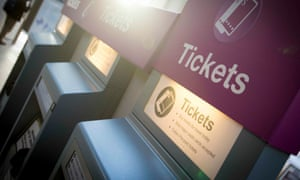 Ticket machines at King's Cross station in London.