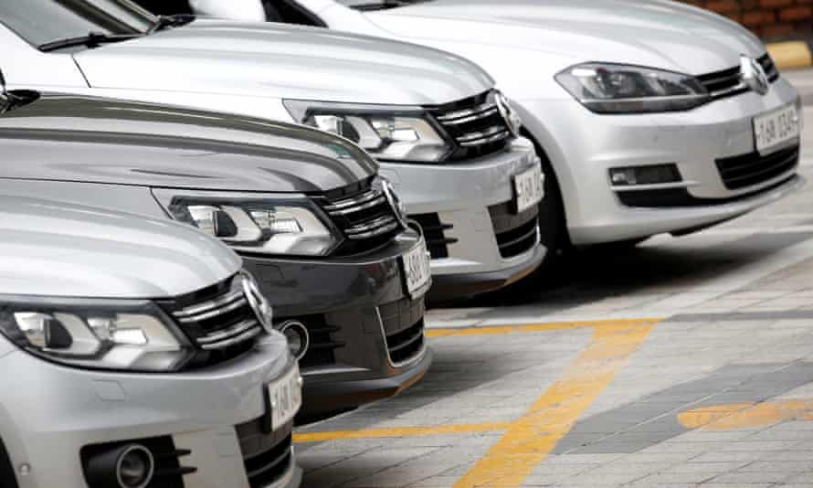 Volkswagen cars are parked at a dealership in Seoul, South Korea.