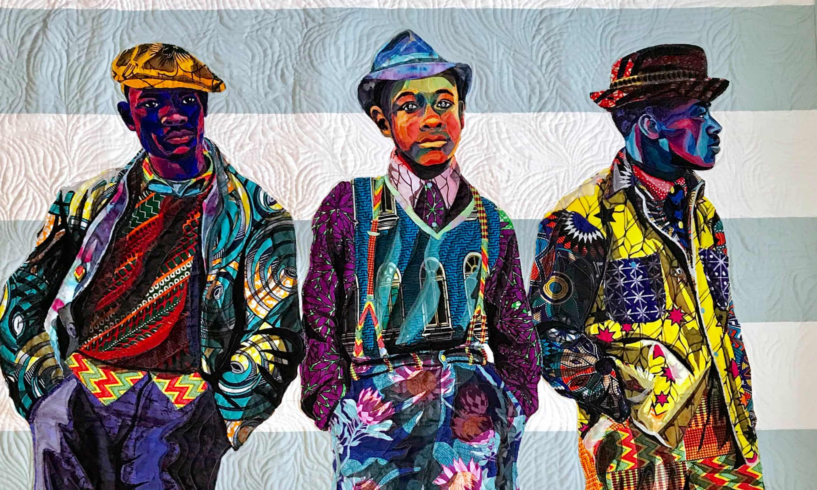 Textile art inspired by vintage photographs of African Americans – in pictures