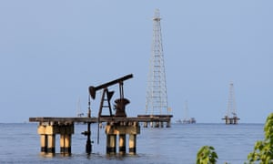 Oil facilities at Lake Maracaibo in Cabimas, Venezuela.