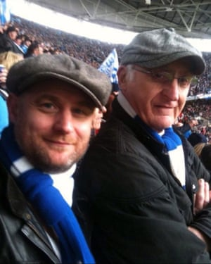 Neil Hames with his father Walter Hames at Wembley in 2011 watching Birmingham City play Arsenal in the League Cup final.