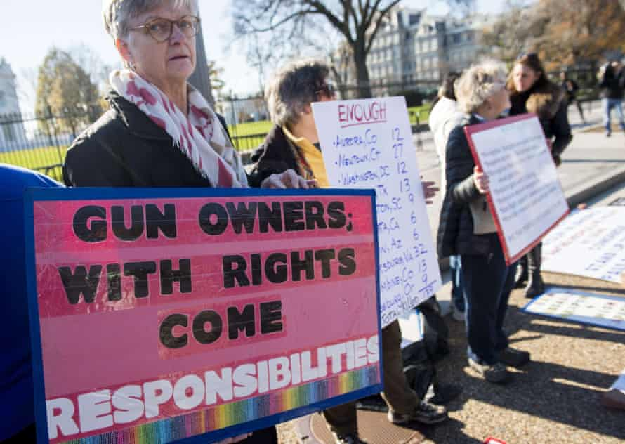 Protesters with the group We the People for Sensible Gun Laws, rally for gun safety legislation outside the White House on Monday.