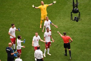 The referee is told to consult VAR and he duly awards a penalty. The Aussies have now experienced both sides of VAR, after conceding a penalty following a video referral against France.