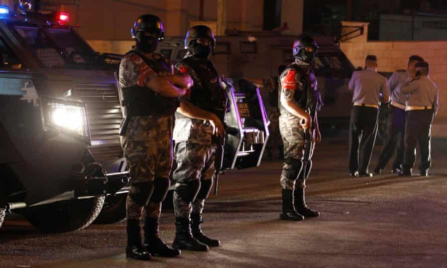 Jordanian security forces deployed at the Israel embassy in Amman.