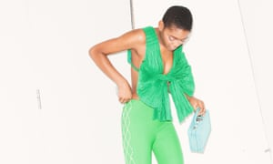 Green top, £391, trousers, £830, shoes, £590, and bag, £909, all Area NYC. Styling: Melanie Wilkinson. Photography: David Newby. Hair: Shukeel Murtaza using Bumble and bumble. Makeup: Delilah Blakeney using Nars Model Bimpe at Premier.