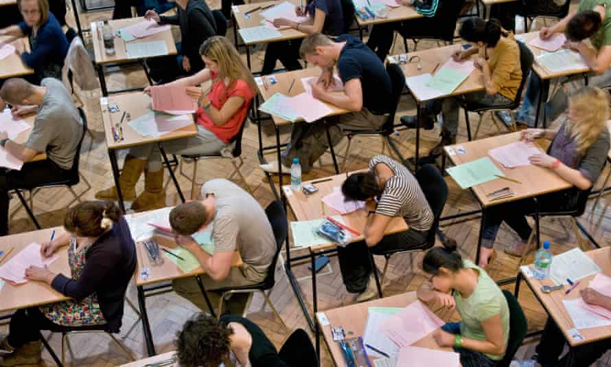 King's College London university students sitting exams.