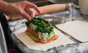 Fish… students prepare salmon en croute.