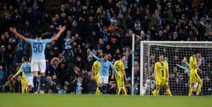 Manchester City's Kyle Walker celebrates scoring their eighth goal.