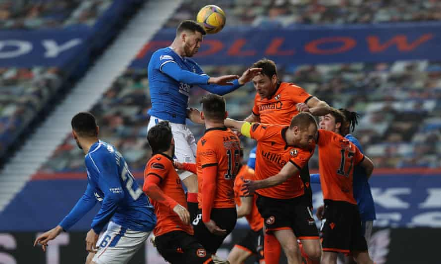 Dundee United defending against Rangers in February 2021