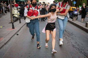 Istanbul, Turkey. Police detained dozens of demonstrators participating in the Pride march in Istanbul. Officers fired teargas, rubber bullets and blocked attempts by protesters to gather in large numbers after a government decision to ban Pride events in recent years
