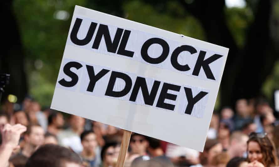 Unlock Sydney sign at protest