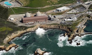 An aerial view of the Diablo Canyon nuclear power plant, which sits on the edge of the Pacific Ocean.