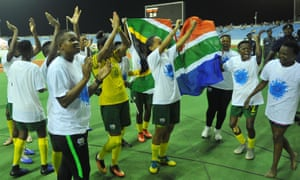 The South Africa players celebrate after their win over Mali in the Women's African Cup of Nations semi-final.
