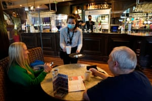 Customers inside the Mile Castle pub in Newcastle as indoor hospitality and entertainment venues reopen today
