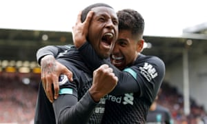 Georginio Wijnaldum, left, and Roberto Firmino celebrate after the Dutchman scored Liverpool's winning goal at Sheffield United.