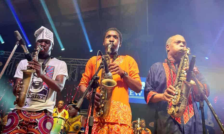 (L-r) Seun, Made and Femi Kuti performing in Lagos, 2020.